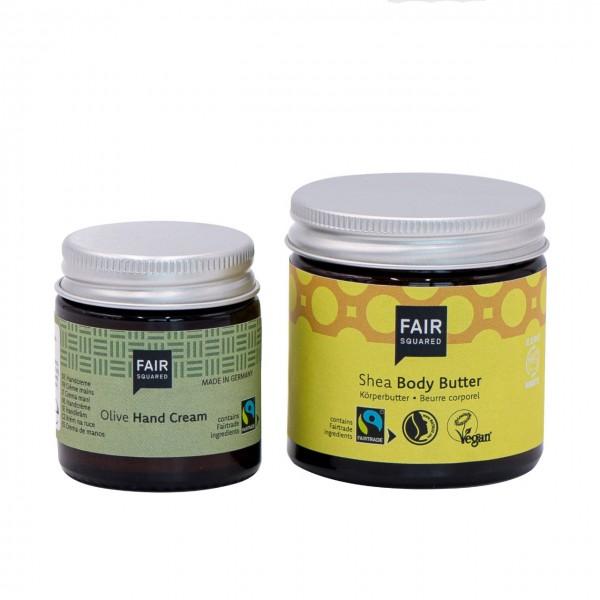 """Körperpflege-Set """"Hand in Hand"""" mit Body Butter Shea 50ml und Handcreme Olive 25 ml"""