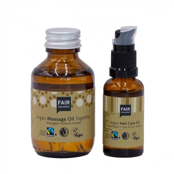 """Körperpflege-Set Massage Öl """"Oil together"""" 100ml + Haaröl Argan 25 ml"""